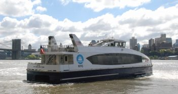 The NYC Ferry vessel H102 in the east River near Pier 11. Kirk Moore photo.