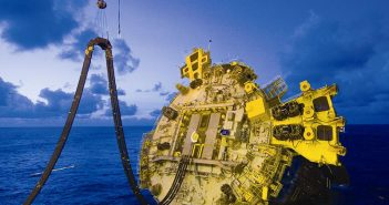 Maneuvering Shell's Perdido spar into position in the deepwater Gulf of Mexico in 2008. Royal Dutch Shell photo.