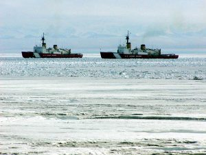 Coast Guard icebreakers Polar Sea and Polar Star in the ice channel near McMurdo, Antarctica, in 2002. USCG photo by Rob Rothway.