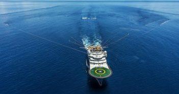 A seismic survey vessel tows and air gun array. CCG Veritas photo.