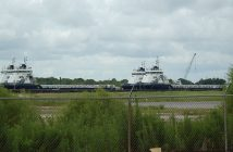Gulfmark OSVs stacked in August 2016, Amelia, La. Ken Hocke photo.
