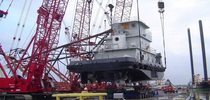 A towboat under construction at Gulf Island Shipyards. Gulf Island Fabrication photo.