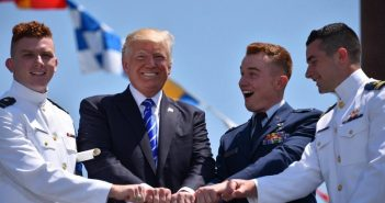 President Donald Trump with graduates at the Coast Guard Academy commencement May 17, 2017. Coast Guard photo.