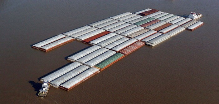 Barges navigate the Mississippi River near Edgard, La. USACE photo.