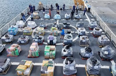 Media members get video of contraband during a drug offload press event in Port Everglades, Fla., May 18, 2017. USCG photo.