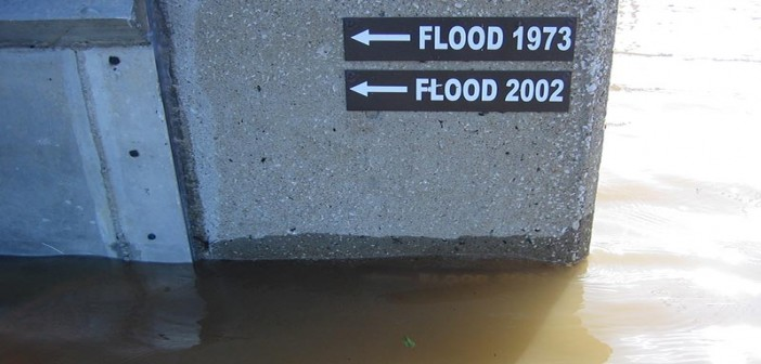High water markers show historic Mississippi River flood levels. USACE St. Louis District photo (2013).