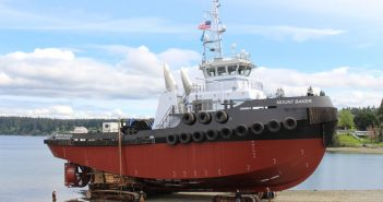 """New 120'x35'x19'3"""" tug for Kirby Corp. will welcome a sistership in November."""