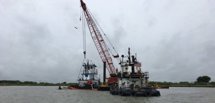 Coast Guard members respond to a 60' towboat taking on water in the Calcasieu Ship Channel. Coast Guard photo by Marine Safety Unit Lake Charles (La.)