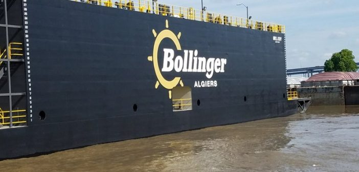 New 198'x76' drydock built by Bollinger Marine Fabricators for Bollinger Algiers. Bollinger Shipyards photo