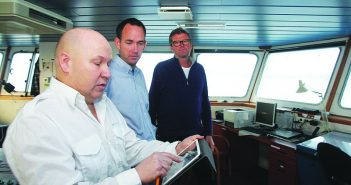 Capt. Torleif Bakken in the wheelhouse of a Bastø Fosen ferry using the REX traffic management app to keep track of other vessels in Norway's Oslo Fjord. Tore Stensvold photo.