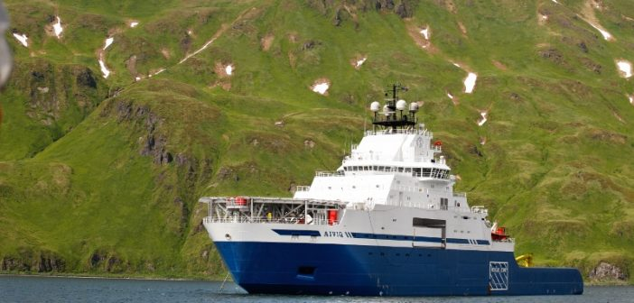The Edison Chouest supply tug Aiviq has been proposed as an interim icebreaker for the Coast Guard. Royal Dutch Shell photo.