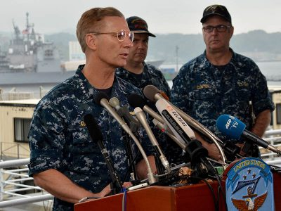 Vice Adm. Joseph Aucoin, commander U.S. 7th Fleet speaks at a press conference on June 18, 2017, about the fatal collision involving the guided-missile destroyer Fitzgerald. U.S. Navy photo by Mass Communication Specialist 1st Class Peter Burghart.
