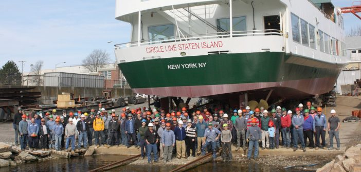 Circle Line employees with their new sightseeing and tour boat. Gladding-Hearn photo
