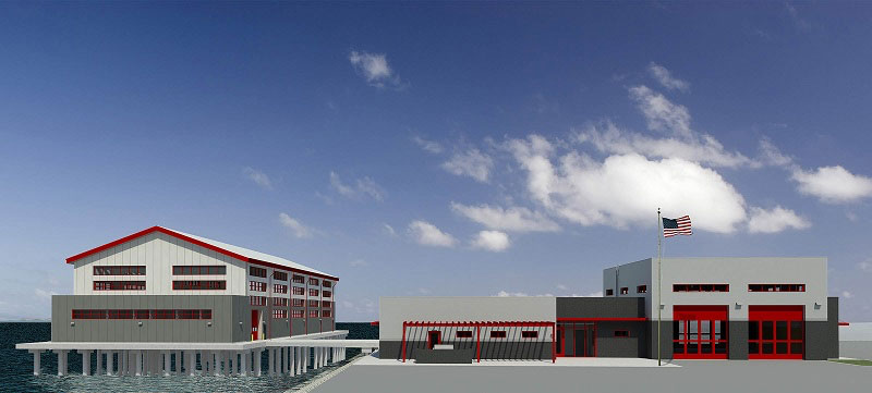 A rendering of the fireboat station planned for the Port of Long Beach, Calif. Image courtesy POLB.