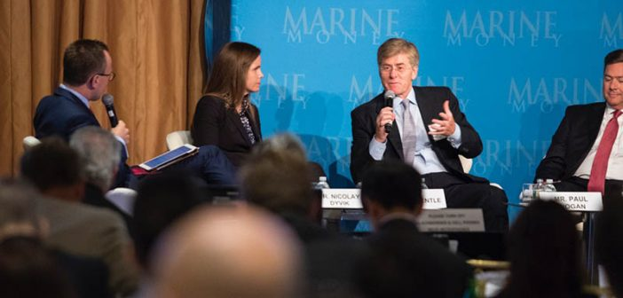 The LNG infrastructure panel discussion at Marine Money included Meg Gentle (second from left), president and CEO of Tellurian. Photo by Chris Preovolos / Marine Money.