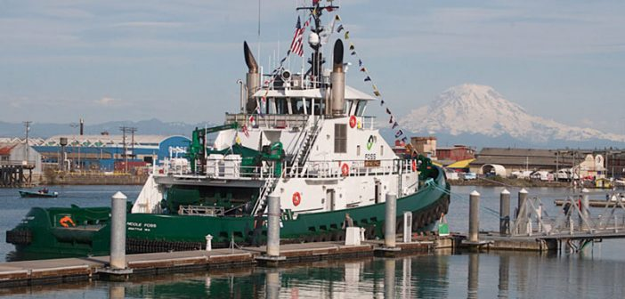 The Nicole Foss with Mount Rainier in the background. Foss Maritime photo.