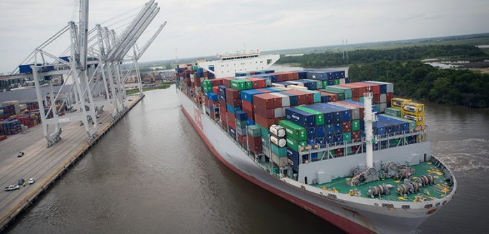 More than 9,500 TEUs were moved on and off of the OOCL France, one of two 13,000-plus TEU vessels to call the Port of Savannah within 21 days. The arrival of larger vessels, including the OOCL France, contributed to a record-breaking month for the Georgia Ports Authority in May 2017. Georgia Ports Authority photo.