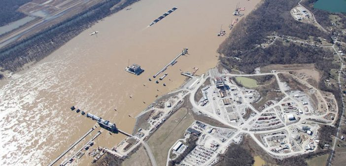 An aerial view of the Olmsted Dam construction project on the lower Ohio River taken in May 2016. USACE photo.