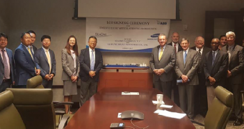 Attending the signing ceremony management and technical team members of SeaOne and Samsung that also included members of ABS and the Marshall Islands Registry. SeaOne photo.