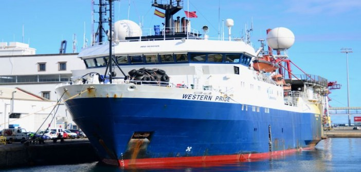 The WesternGeco survey ship Western Pride could be one of five permitted to conduct seismic surveys off the U.S. Atlantic coast. ShipSpotting.com photo by user Patalavaca.