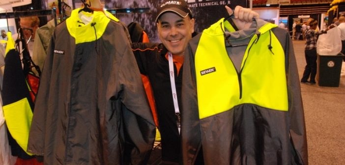Clinton Desveaux of Climate Technical Gear brought the company's latest Sevaen lineup to the Inland Marine Expo in St. Louis. Kirk Moore photo.