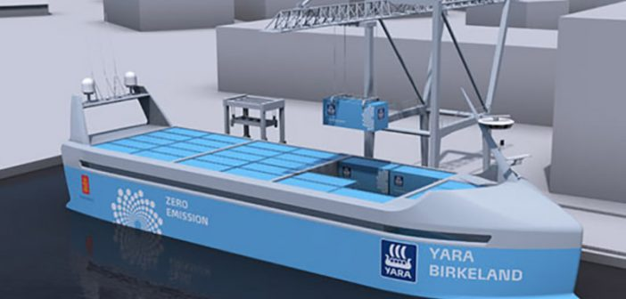 A rendering of the Autonomous and 100% electric YARA Birkeland. Image courtesy Kongsberg.