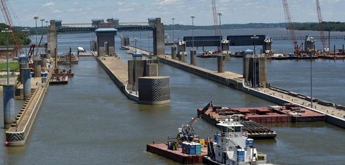 Construction at the Olmsted Locks and Dam on the Ohio River between Illinois and Kentucky on June 7, 2016. USACE photo by Lee Roberts.