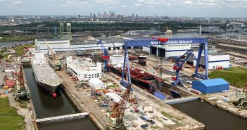 Philly Shipyards had planned to build four LNG dual-fuel containerships for service to Hawaii. Philly Shipyard photo.