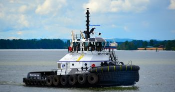 New tug is the first in North America to feature Caterpillar power and Cat azimuth thrusters. Cat photo