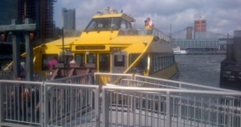 The New York Water Taxi ferry Seymour R. Durst at the Pier 11 terminal. Barry Parker photo.
