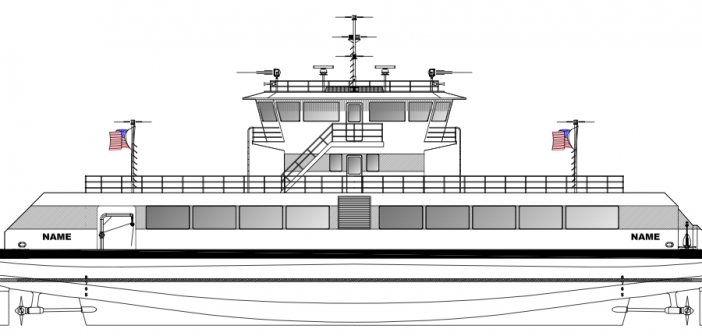 A vessel profile of the planned Governors Island ferry. Courtesy of Blount Boats/Elliott Bay Design Group.