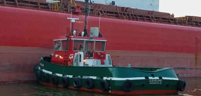 The tug Cleveland handles its first ship assist on July 17. Photo courtesy of Great Lakes Towing