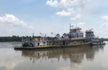 The towboat Eric Haney after being raised on the upper Mississippi River. Coast Guard photo.
