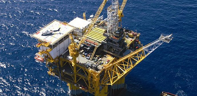 The Marco Polo tension-leg platform in the Gulf of Mexico. Photo courtesy of BOEM