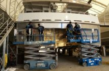 PPS ORCA vinyl film is appliced to a NYC Ferry vessel. PPS Imaging photo.