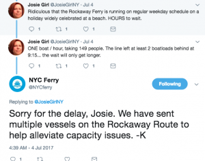 The NYC Ferry team was on Twitter during the July 4 holiday fielding riders' complaints and updating information.