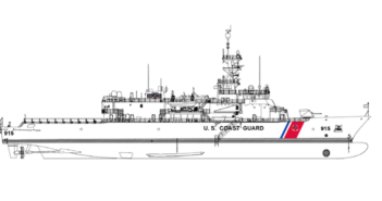 Construction of the USCG's offshore patrol cutter is set to begin in 2018. Eastern Shipbuilding Group rendering