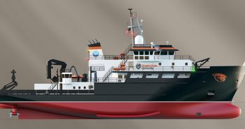 Rendering of a new class of regional coastal research vessel (RCRV) to be built by Gulf Island Shipyards. Glosten Associates.