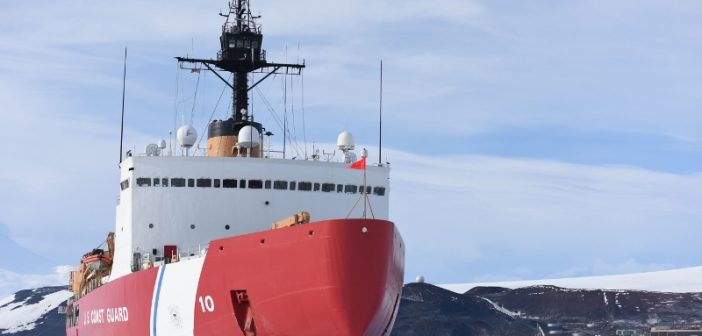 The Coast Guard Cutter Polar Star is hove-to in McMurdo Sound, Antarctica, fast ice near the National Science Foundation's McMurdo Station, Feb. 2, 2016. Coast Guard photo/PO2 Grant DeVuyst