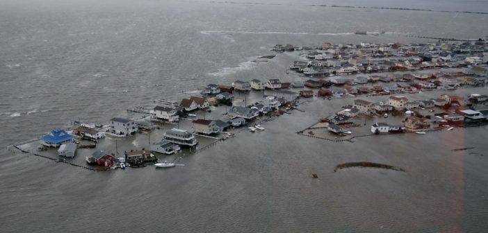 The Tuckerton Beach, N.J., neighborhood inundated on the morning of Oct. 29, 2012 after hurricane Sandy. Coast Guard photo.