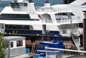 The ferry Zelinsky hauled out at North River Shipyard, Nyack, N.Y. Kirk Moore photo.