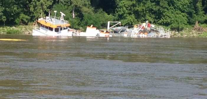 Towboat goes down in the Mississippi River near Cairo, Ill. USCG photo