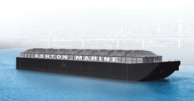 Ashton Marine is having two 200' hopper barges built at Jeffboat. Ashton Marine image