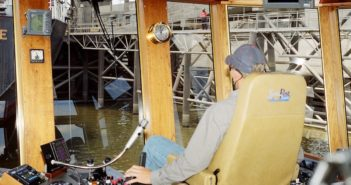 A tug captain at work on Bisso Towboat's Alma S. Photo by David Krapf
