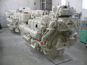 MTU 8V396 engines at Pacific Power Group. PPG photo.