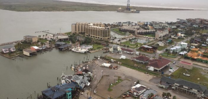 Port Aransas, Texas, as seen from a Coast Guard helicopter flyover during Hurricane Harvey, Aug. 26, 2017. Coast Guard photo.