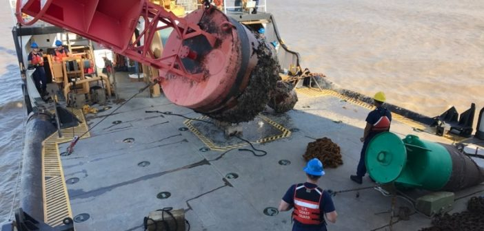 The Coast Guard buoy tender Harry Claiborne recovers a buoy displaced by Hurricane Harvey. Coast Guard photo.
