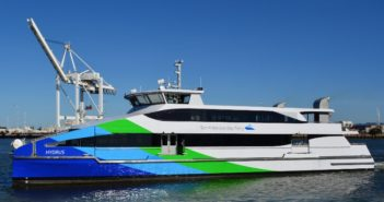 The San Francisco Bay ferry Hydrus was designed for Tier 4 performance to meet California's strict air quality rules. Incat Crowther photo.