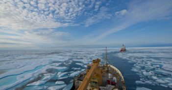 The U.S. Coast Guard cutter Maple folows the Canadian Coast Guard icebreaker Terry Fox through the icy Franklin Strait at Nunavat, Canada, Aug. 11, 2017. U.S. Coast Guard/PO2 Nate Littlejohn.