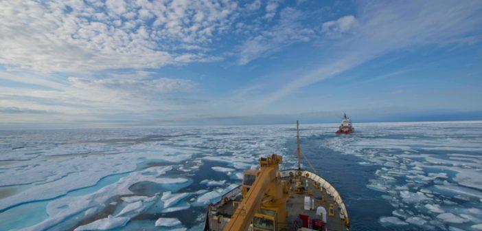 The U.S. Coast Guard cutter Maple folows the Canadian Coast Guard icebreaker Terry Fox through the icy Franklin Strait at Nunavat, Canada, Aug. 11, 2017. U.S. Coast Guard/PO2 Nate Littlejohn.